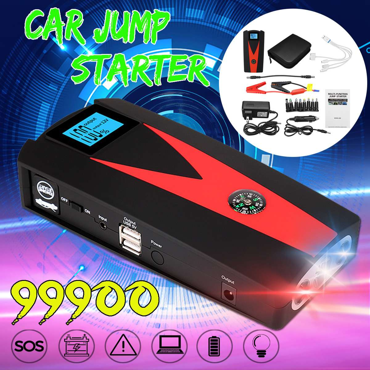 99900mAh High Power Car Jump Starter 12V 800A LED Power Bank For Portable Car Battery Booster Charger Starting Device(China)