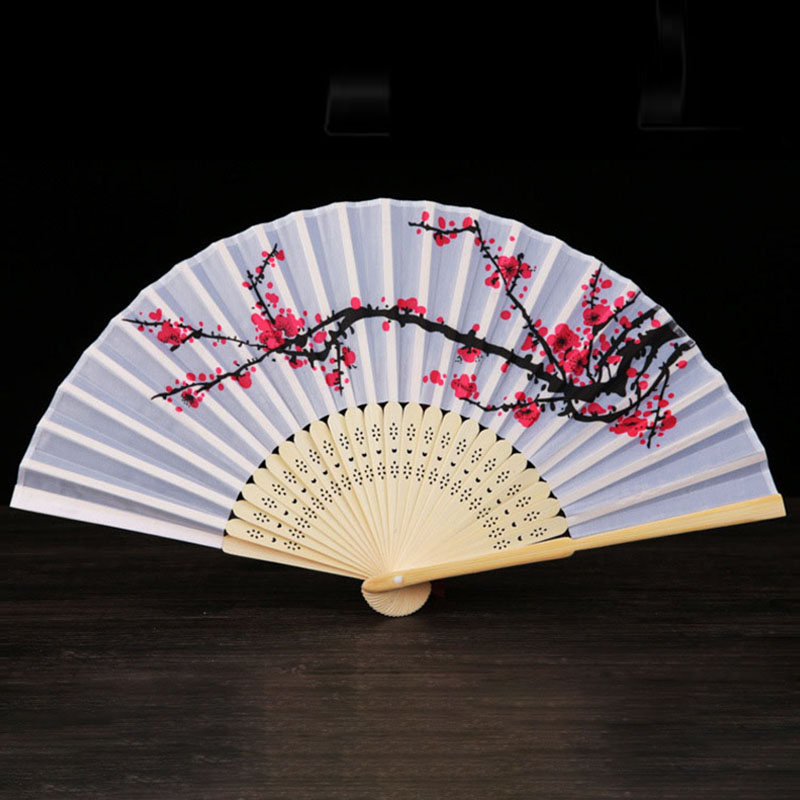 Vintage Bamboo Folding Hand Held Flower Fan Chinese Ink Painting For Women Dance Party Pocket Gifts Plum Blossom Decor 77DA