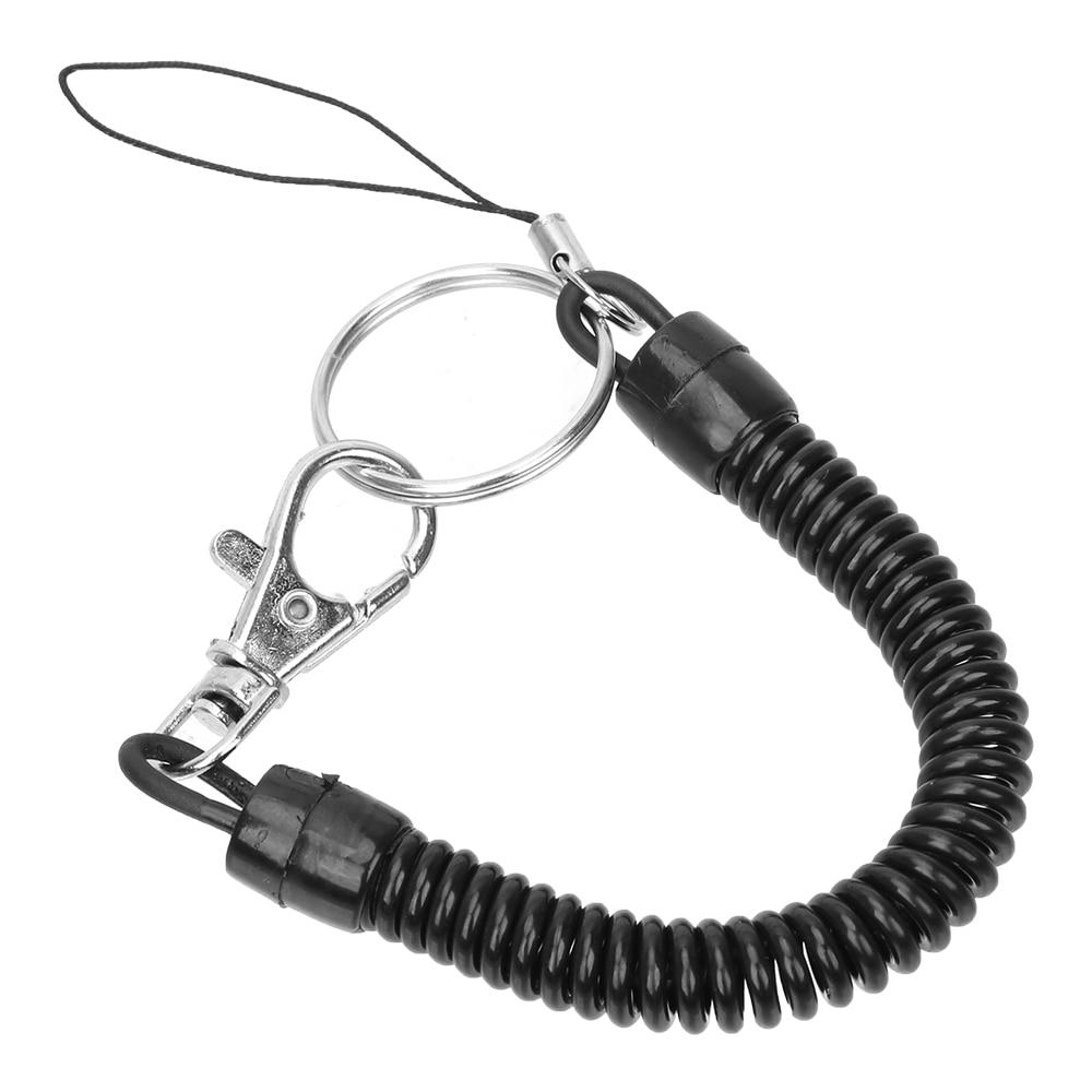 pk 1 SPIRAL STRETCH EXTENDING RETRACTABLE KEY RING /& BELT CLIP BLACK