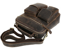 Crazy horse leather Men Fashion Shoulder crossbody Messenger Bag Real leather Designer Mochila University Book School bag