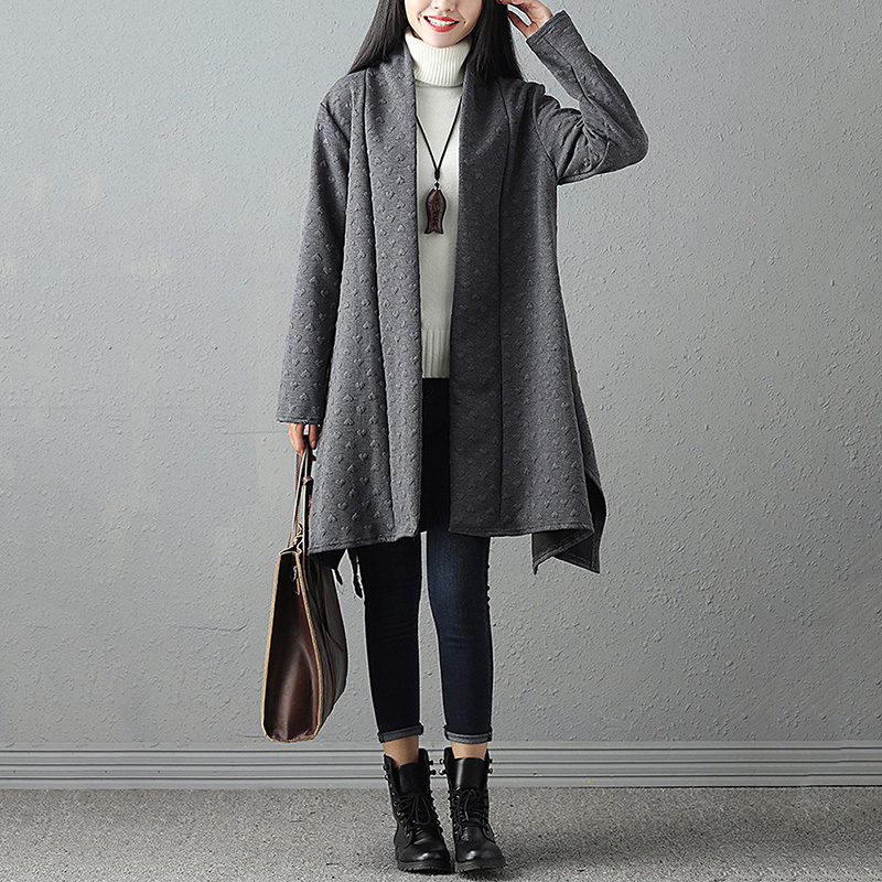 Fashion Autumn Winter Long Coat for Women Open Front Long Sleeve Solid Loose Irregular Long Cardigan Outerwear Women   Trench