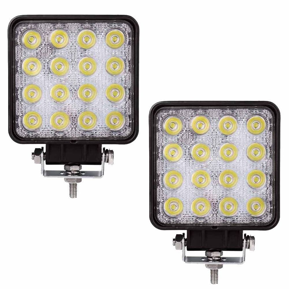 2 Pcs 48W 6000k LED Spot Beam Square Work Lights Lamp Tractor SUV Truck 4WD 12V 24V Square LED Spotlights