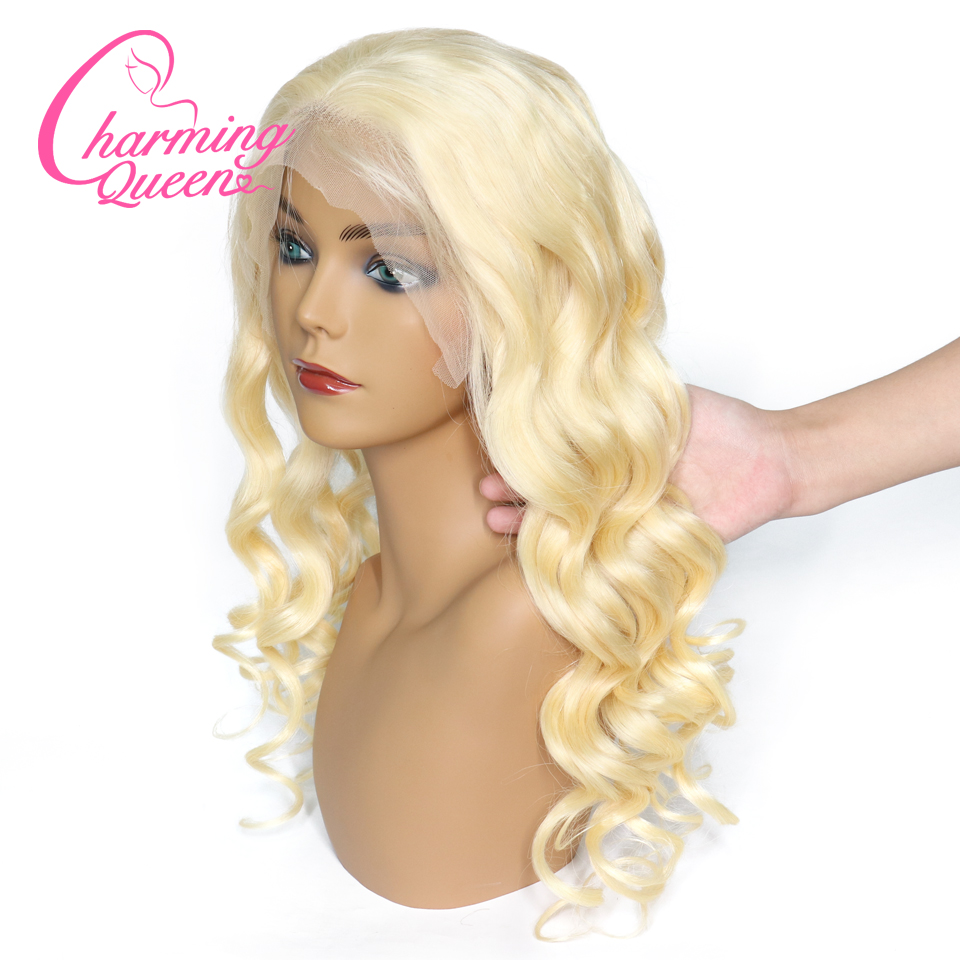 Charming Queen Lace Front Human Hair Wigs Pure 613 Blonde Full End Loose Wave Brazilian Remy