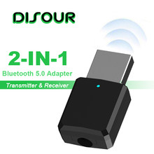 DISOUR Bluetooth 5.0 Audio Receiver Transmitter 2 In 1 Wireless Bluetooth Adapter 3.5mm AUX Stereo Bluetooth Transmitter For TV(China)