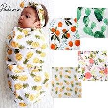 Брендовое Новое одеяло для пеленания из органического хлопка, муслиновое одеяло для новорожденных, Пеленальное Одеяло с цветами и фруктами, нагрудники полотенца 0-3 м
