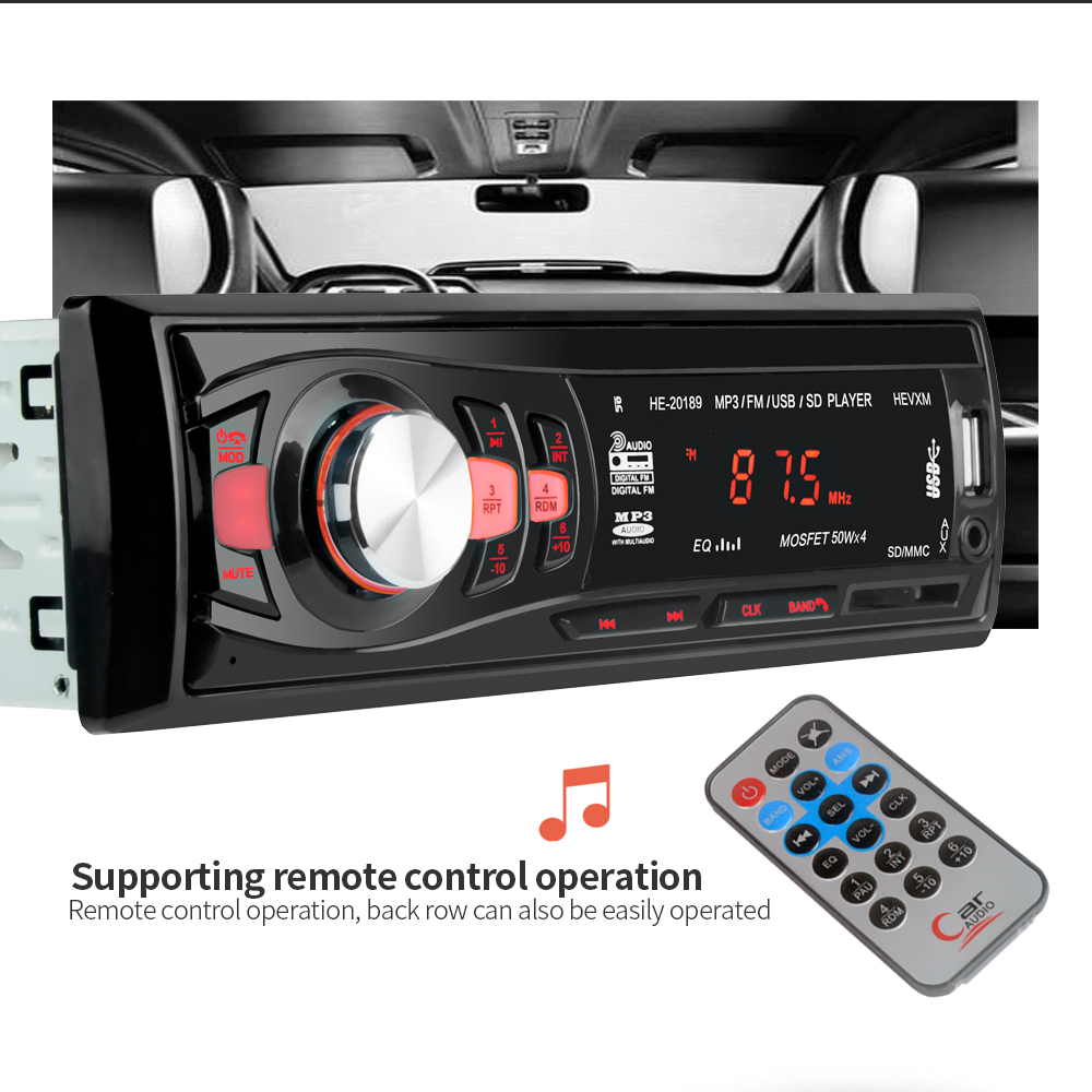 1 Din 12V Multifunction Vehicle MP3 Player Car Radio Bluetooth Mobile Phone MP3 Player Music Radio In Car Radios USB AUX Stereo