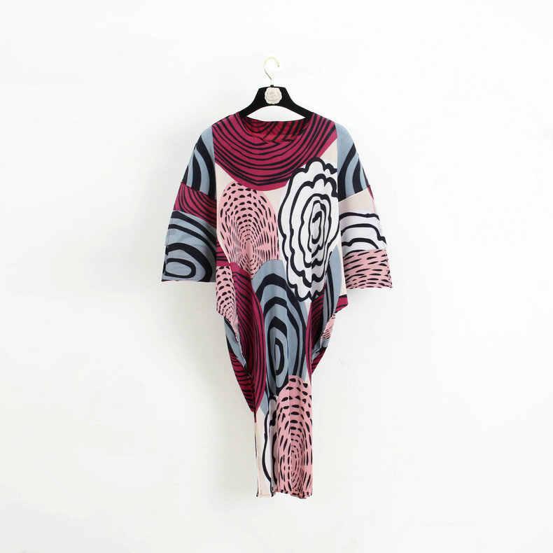 LANMREM 2019 Новая мода контрастная цветная печать летучая мышь плиссированное платье с круглым вырезом Женская индивидуальная свободная одежда Vestido YE850