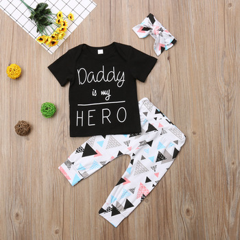 Newest 3pcs Kid Infant Baby Boy clothing Short Sleeve letter Tops T-shirt+Leggings Pants+headband Outfit Clothes set 1