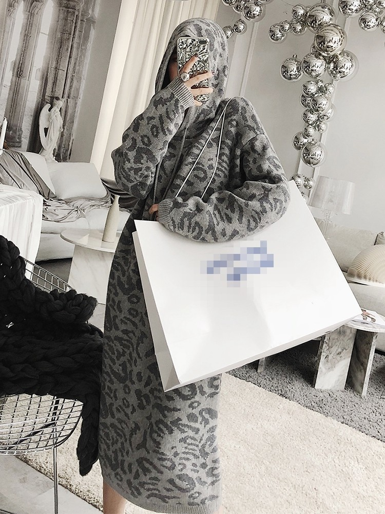 Robes Manches Nouvelle Automne Capuche Femmes Hiver Longues Realshe 2018 Mode Midi Fille Imprimer Capuchon Robe Lâche Chaud À 4qnRvnTwxC