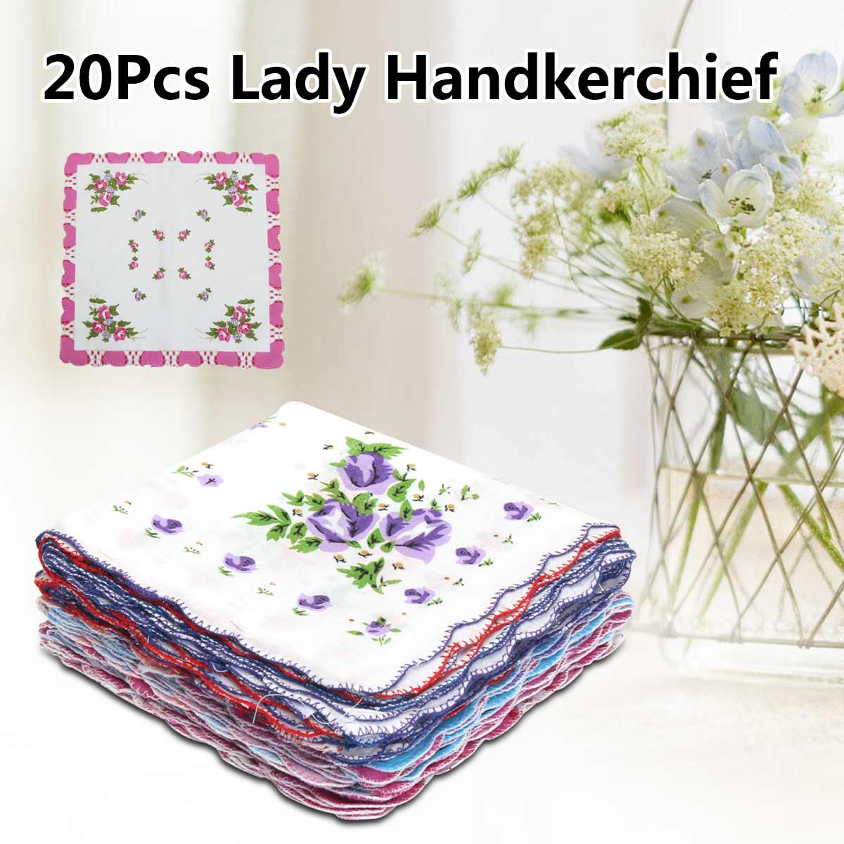 20Pcs/lot Vintage Style Floral Flowers Handkerchief Lady Women Kids Cotton Hanky Cotton Square Handkerchief Hand Towels Decor