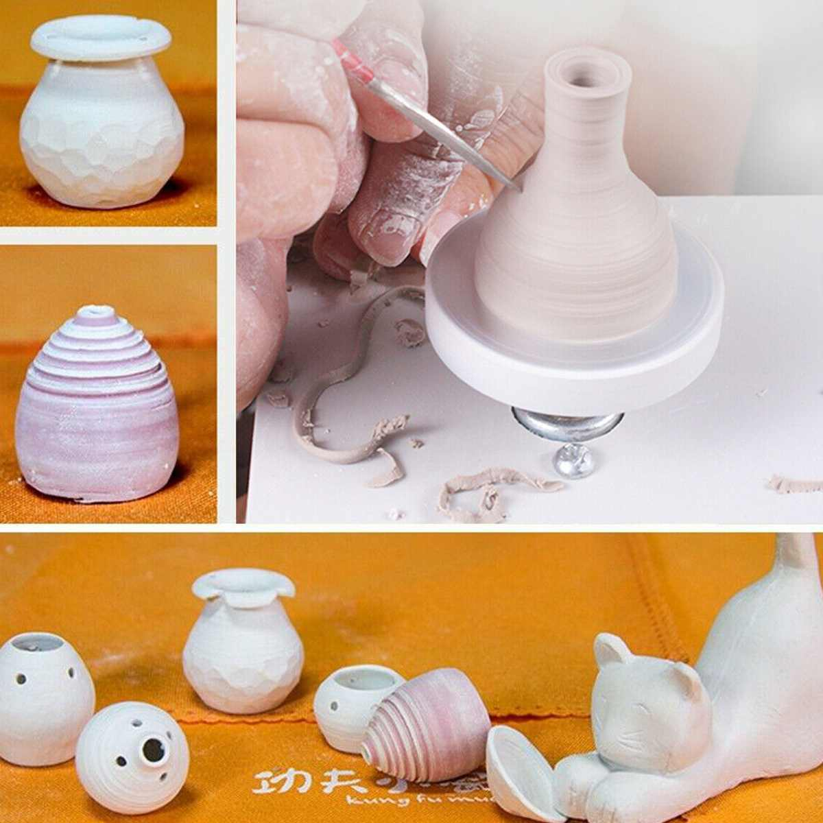 USB Ceramic Machine 5V Mini Pottery Wheel Electric For Clay Art Work Crafts DIY Manual Control Speed Stepless Carried Smooth