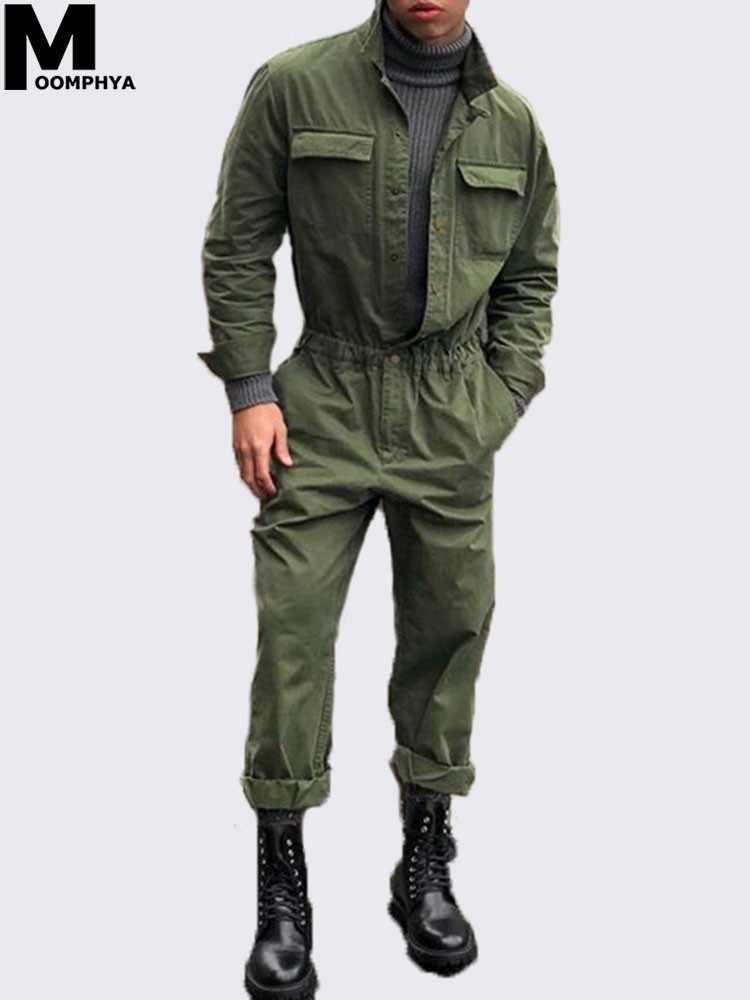 e817a1792c1 Moomphya 2019 New Arrived Men Long sleeve jumpsuit coat Streetwear men  clothing Romper Suit Men overcoat