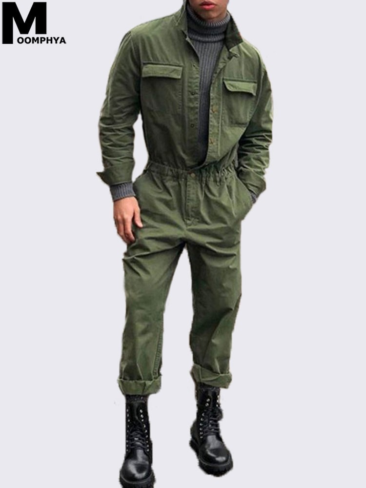 Moomphya 2019 New Arrived Men Long Sleeve Jumpsuit Coat Streetwear Men Clothing Romper Suit Men Overcoat Outwear