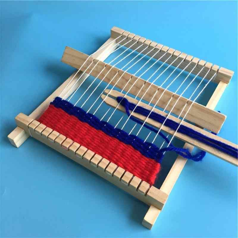 DIY Traditional Wooden Weaving Loom Craft Yarn Educational Wooden Weaving FrameHand Knitting Machine Children Weaving Toy Gift