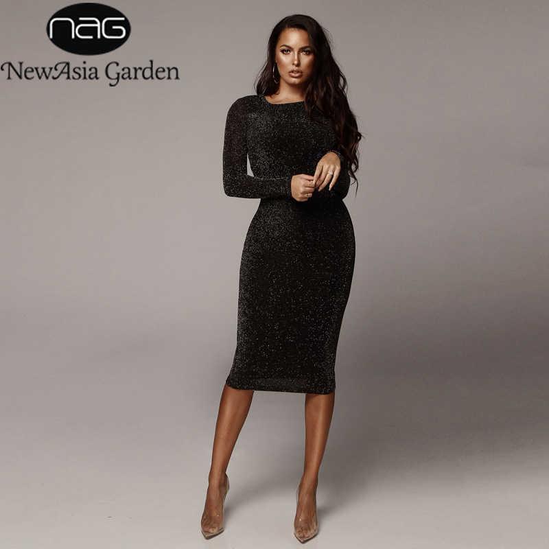 Невазия сияющее облегающее платье миди зимнее женское элегантное с длинным рукавом базовое повседневное вечернее платье 2018 осеннее Сексуальное Черное длинное платье