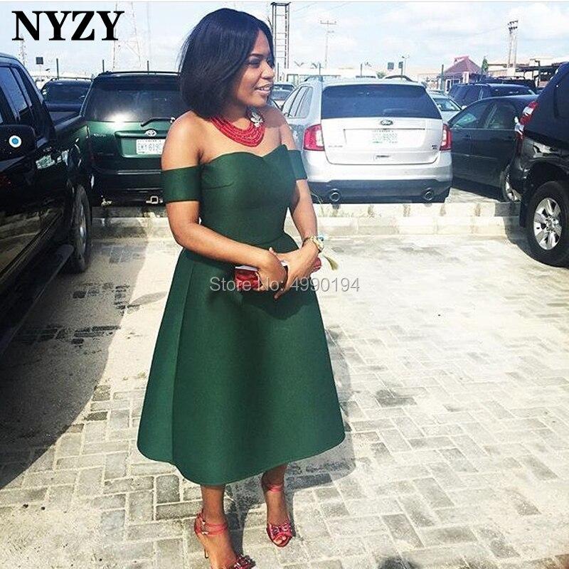 NYZY C90 élégante robe en Satin vert partie épaule dénudée thé longueur robe de Cocktail courte soirée vestido coctel