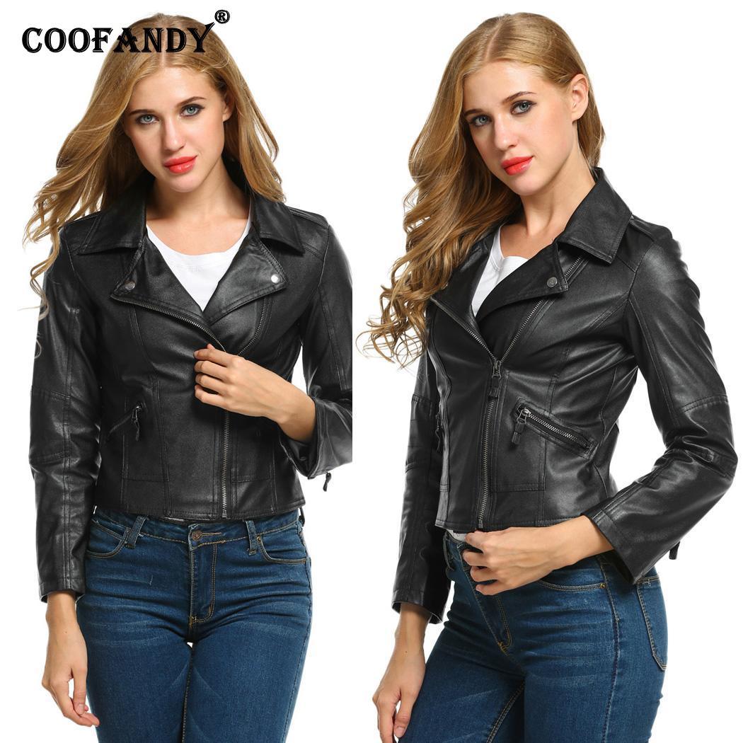 New Winter Women Motorcycle   Leather   Coat Jacket S-XXL size Diagonal Zipper Short Long Sleeve Outerwear Coats