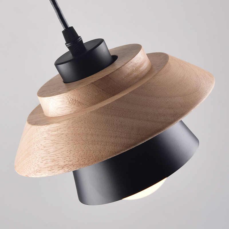Небольшой деревянной подвесная световая балка кухня кафе Nordic столовая Ресторан Подвеска СВЕТОДИОДНАЯ Лампа AC110V/220 V E27