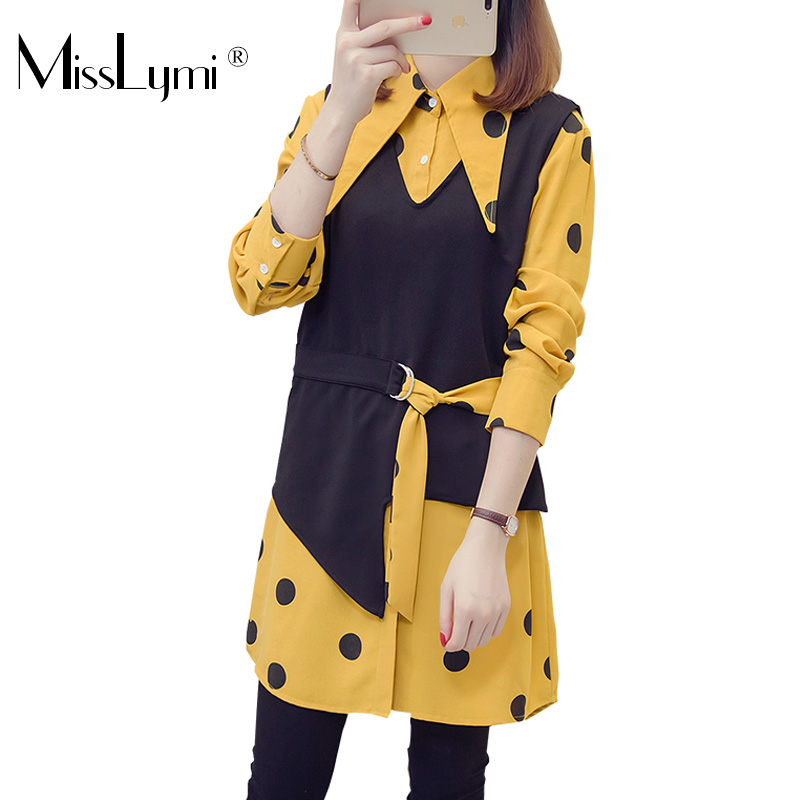 XL-5XL Plus Size Women Tops Autumn 2018 Vintage Polka Dot Print Long Sleeve Yellow Shirts and Knitted Vest Two Piece Set 1