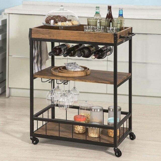 SoBuy FKW56 N, Industriële Vintage Stijl Hout Metaal 3 Tiers Keuken Serveren Trolley met Wijnrek|Keukeneilanden & Trolleys|Meubilair -