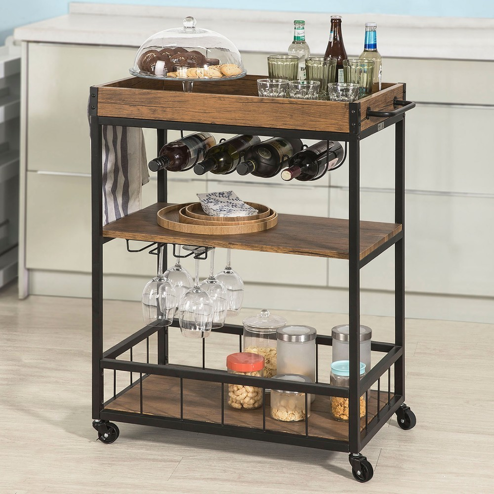 SoBuy  FKW56-N, Industrial Vintage Style Wood Metal 3 Tiers Kitchen Serving Trolley With Wine Rack
