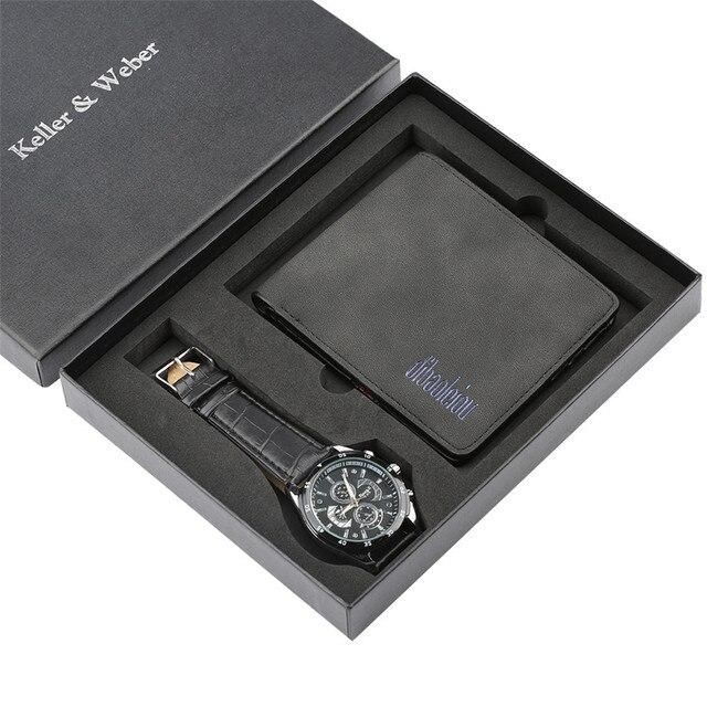 Pulseira de Couro Relógios de Pulso de luxo Mens Watch reloj masculino  Carteira Jogo Do Presente para Namorado Pai dos homens da Forma do Relógio  relojR  67 ... a4ed8ec3e6