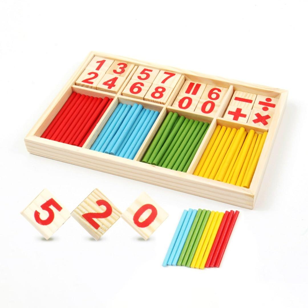 1 Set Kindje Stok Wiskundige Houten Blokken Math Speelgoed Kids Educatief Speelgoed Voor Kinderen Aantal Tellen Leren Houten Doos Hoge Kwaliteit En Weinig Overheadkosten