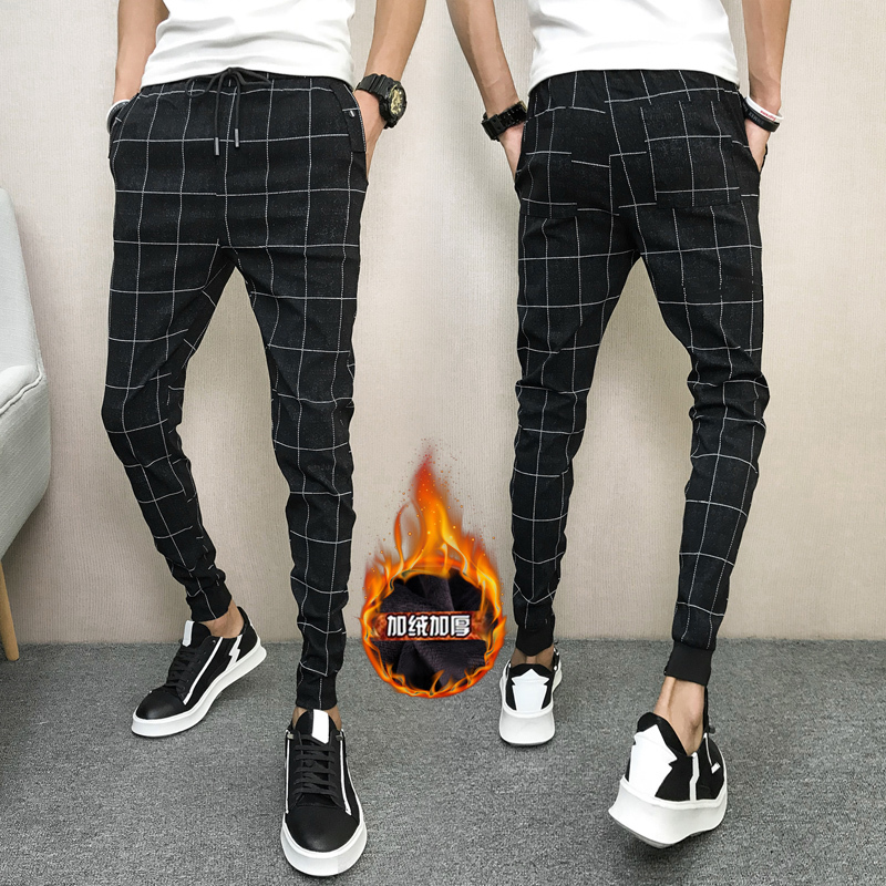 2018 Autumn And Winter New Korean Edition Grid Patchwork Cashmere Thickened Casual Pants  Self-cultivation Full Length