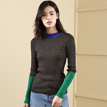 2019 Autumn and Winter sweater woman knitting pullover long sleeve spelling color fashion rendering winter 18101