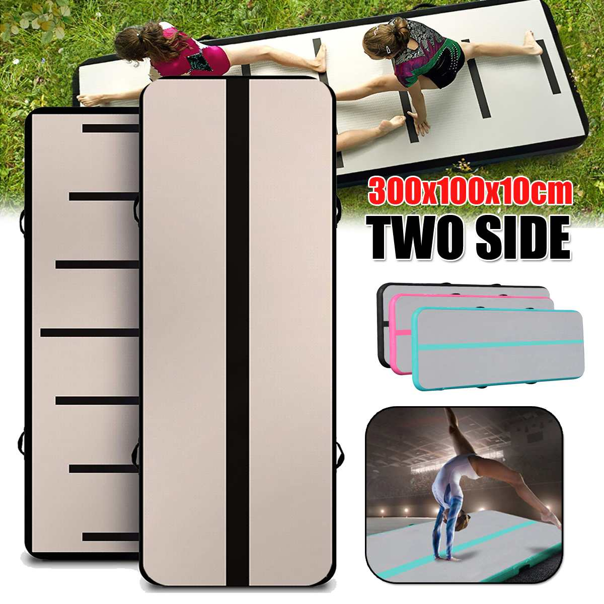 100*300*10cm Airtrack Inflatable Air Tumbling Air Track Gymnastics Mats Training Board Equipment Floor with Electric Air Pump100*300*10cm Airtrack Inflatable Air Tumbling Air Track Gymnastics Mats Training Board Equipment Floor with Electric Air Pump