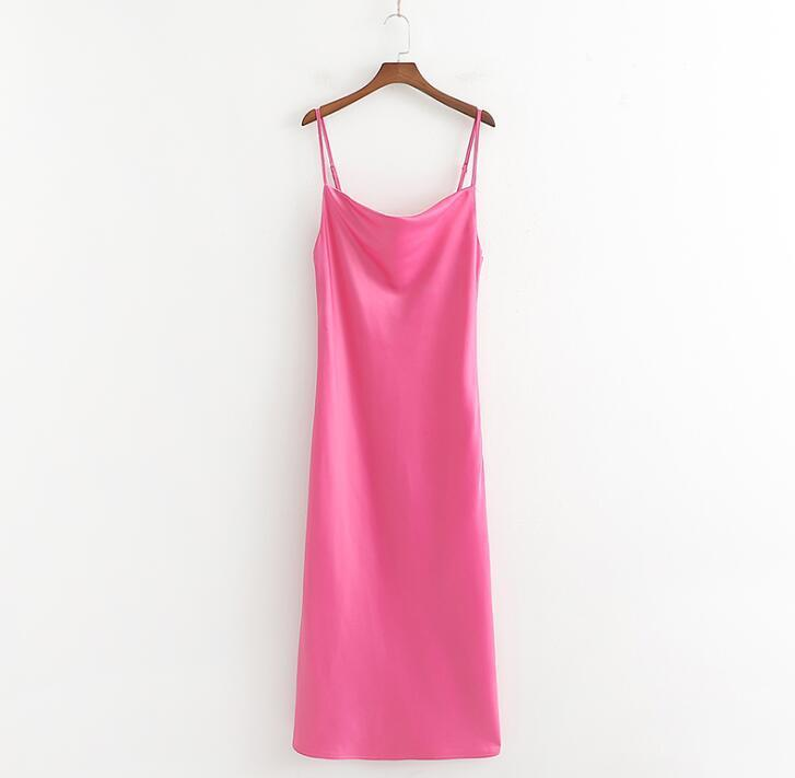 2019 Sexy Silk Long Dress Women Pink Camisole Dress Summer Camisoles Elegant Party Wear Vestidos Mujer
