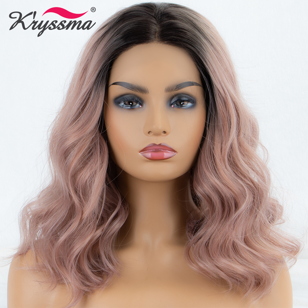 Kryssma Synthetic Lace Front Wig Short Wavy Light Pink Dark Roots Wig Ombre Wigs For Women