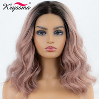 Kryssma Synthetic Lace Front Wig Short Wavy Light Pink Dark Roots Wig Ombre Wigs For Women Hair Heat Resistant Fiber Middle Part