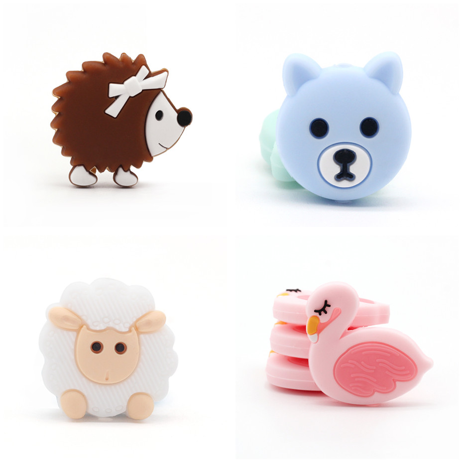 5pc Mini Silicone Bear Beads For Teething DIY Pearl Beads Sheep Food Grade Silicone Beads BPA Free Childen's Gifts Baby Teether