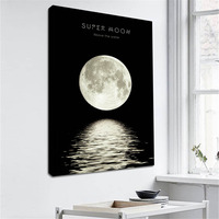 Black and White Moon Phases Wall Art Canvas Paintings Decorative Pictures for Bedroom Home Decor Framed Moon Landscape Poster