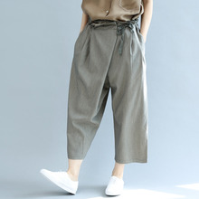 #2154 Summer Indie Folk Cotton Linen Wide Leg Pants Women Lace Up Waist Thin Big Size Loose Ankle-length Trousers Femme Black