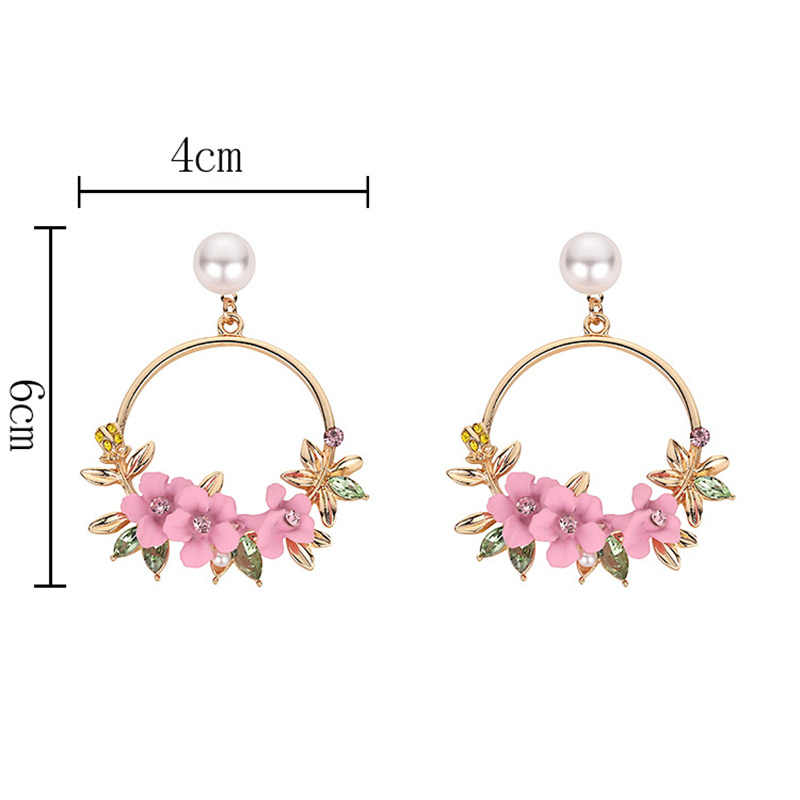 Jwelry Gifts Big Circle Flower  Women  Rhinestone  New Hot 1Pair Simulated Pearl  Ear Stud Drop Earring Fashion Charm