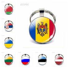 Eastern European Countries Flag Keychain Russia Ukraine Belarus Estonia Latvia Lithuania Moldova Key Chain Gift for Friends