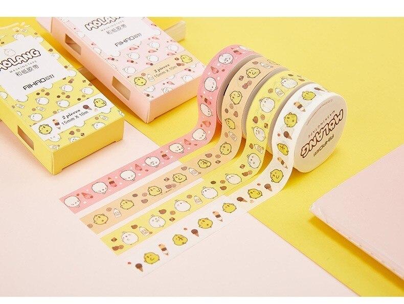 SIXONE 2 Suit Kawaii Rabbit Decorative Tape Set Masking Washi Tape Diy Handbook Scrapbooking Stickers Label Stationery