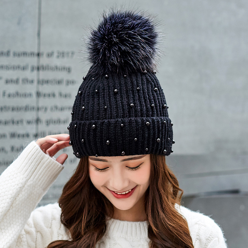 fb9893dc259 ... New Wool Beanies Women Real Natural Fur Pom Poms Fashion Pearl Knitted  Hat Girls Female Beanie ...