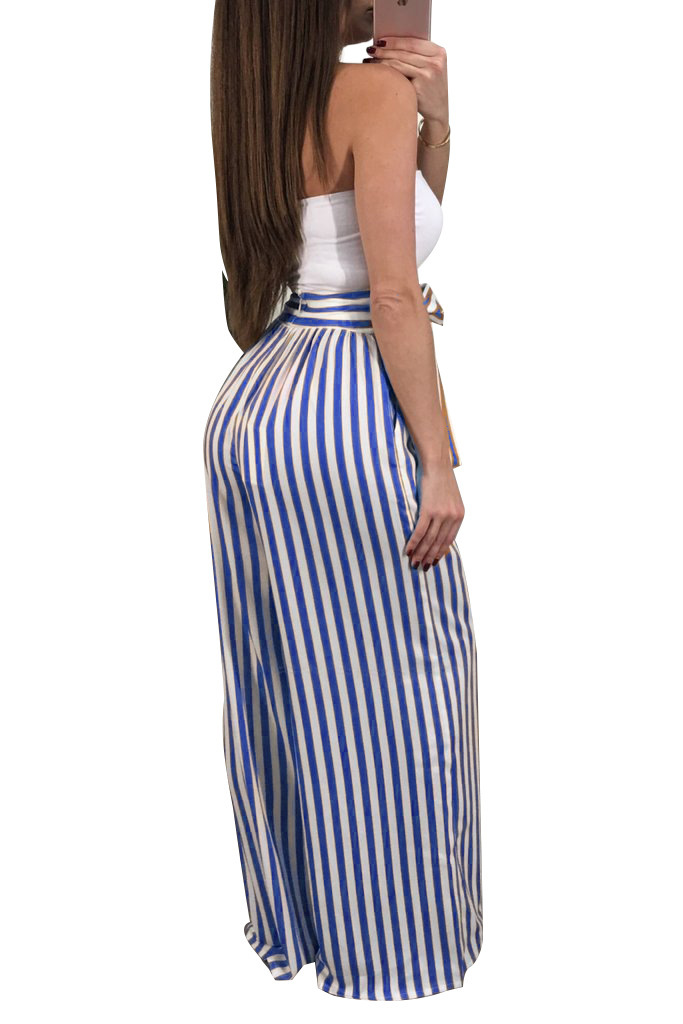 Casual Women Clothing Long High Waist Striped Wide Leg Pants Sashes Pants in Pants amp Capris from Women 39 s Clothing