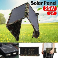 Dual USB Port Portable 25W 5V Solar Panel Folding Foldable Waterproof Charger Mobile Power Bank for Phone Battery