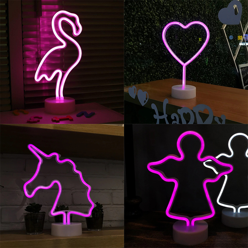 Led Neon Night Light Flamingo Unicorn Angel Heart Lamp Battery Operated For Table Home Wedding Christmas Decoration