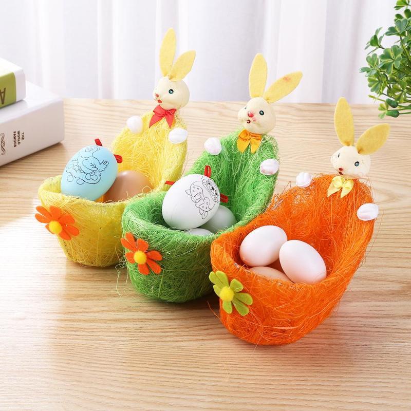 1pcs Cute 3D Flower Easter Baskets Candy Snack Egg Bag Kids Gifts Rabbit Decor Gift Storage Bag Handbag Easter Egg