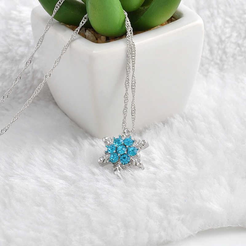 2Pcs คริสตัลเกล็ดหิมะ Charm สร้อยคอและจี้ Zircon ดอกไม้เงินชุบเครื่องประดับคริสต์มาสของขวัญผู้หญิงขายส่ง