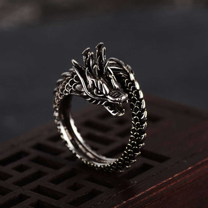 Men   Ring Fashion  Rings  Jewelry Women  Silver   Opening Dragon