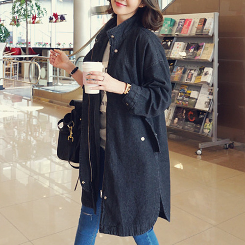 New Korean Loose Denim Women Coats Mid-length Jeans Windbreaker Spring Autumn Wear Jackets Causal Long Sleeve Coat Fashion femme