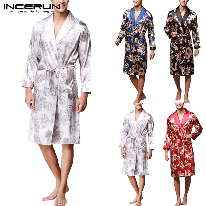Stylish Mens Robe Long Sleeves Bathrobe Silk Kimono Lucky Dragon Print Pajamas Night Dressing Gown Masculina Bathrobe Homewear