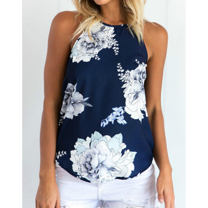 Summer Women Casual Floral Print   Tank     Tops