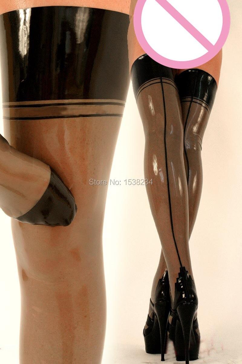 Sexy Latex Stockings Transparent Black & BLACK Thigh High Stockings